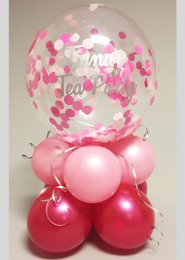 Personalised Pink Confetti Inflated Balloon Bubble Centrepiece