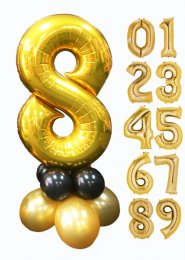Gold and Black Large Number Balloon Centrepiece
