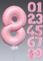 Pastel Pink Number Helium Balloon with White Collar and Base