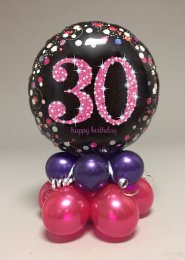 Black And Pink 30th Birthday Balloon Centrepiece
