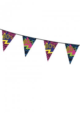 1980s Party Flag Bunting Decoration