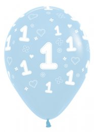 Blue 1st Birthday Party Balloons Pk5