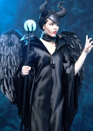 Womens Maleficent Costume with Feather Wings