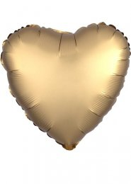 Inflated Gold Sateen Satin Luxe Heart Helium Balloon