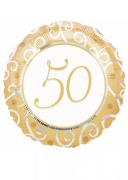Inflated 50th Anniversary Golden Wedding Balloon