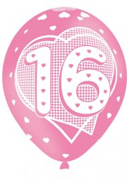 Pink Sweet 16th Birthday Party Balloons Pk6