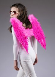 Kids Size Bright Pink Feather Angel Wings
