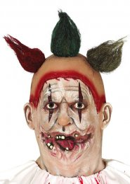 Freak Show Twisty Style Clown Mask with Hair