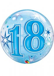Inflated Blue 18th Birthday Transparent Bubble Helium Balloon