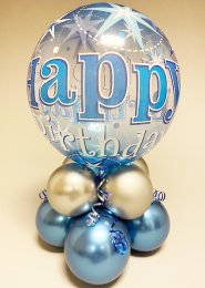 Blue Happy Birthday Bubble Inflated Balloon Centrepiece