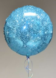 Inflated Glitter Blue Circle Shaped Helium Balloon
