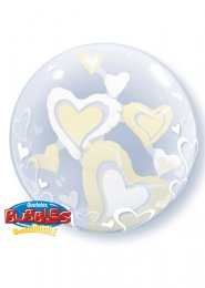 Inflated Ivory Hearts Double Bubble Helium Balloon