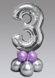 Inflated Mid-Size Silver and Lilac Number 3 Balloon Centrepiece