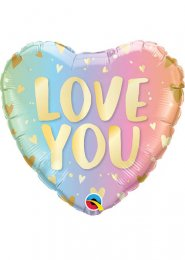 Inflated Pastel Rainbow Ombre Love You Heart Balloon