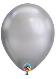 Qualatex Chrome Silver Latex Balloons Pk5