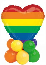 Bright Rainbow Heart Inflated Balloon Centrepiece
