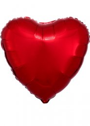 Inflated Red Heart Shaped Helium Balloon