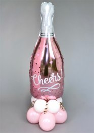 Inflated Cute Pink Cheers Bottle Balloon Centrepiece