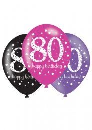 Pink and Black 80th Birthday Party Balloons Pk6