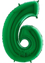 Large Green Number 6 Inflated Helium Balloon on Weight