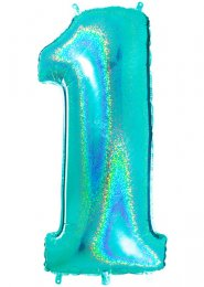 Sparkle Tiffany Blue Number 1 Inflated Helium Balloon on Weight