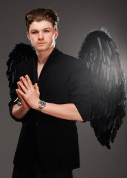 Mens Large Black Feather Gothic Angel Wings