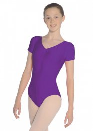 Purple Jeanette Short Sleeve Dance Leotard