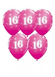 Bright Pink 16th Birthday Party Balloons Pack 5