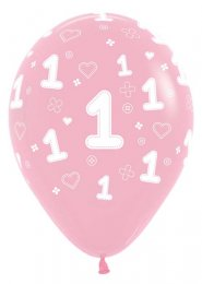 Inflated Baby Pink 1st Birthday Helium Party Balloon