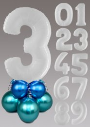 White and Chrome Blue and Green Large Number Balloon Centrepiece