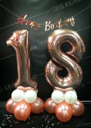 Rose Gold 18th Number Balloon Centrepiece Set