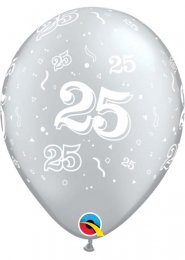 Inflated Silver 25th Anniversary Helium Party Balloon
