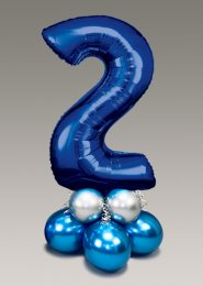 Chrome Blue and Silver Large Number 2 Balloon Centrepiece