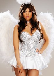 Womens Deluxe Sequin White Angel Costume
