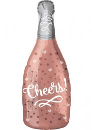 Inflated Rose Gold Cheers Bottle Shaped Helium Balloon