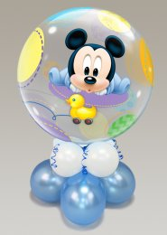 Inflated Large Mickey Mouse Baby Boy Bubble Balloon Centrepiece
