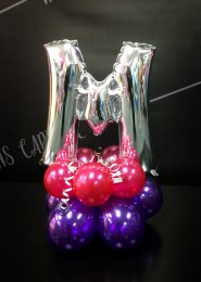 Mini Pink And Silver Letter Balloon Centrepiece