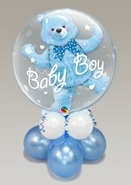 Inflated Baby Boy Teddy Bear Bubble Balloon Centrepiece