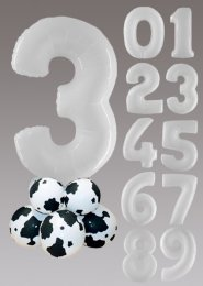 White Cow Print Large Number Balloon Centrepiece