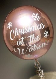 Personalised Christmas Rose Gold Orbz Helium Balloon on Weight