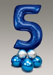 Chrome Blue and Silver Large Number 5 Balloon Centrepiece