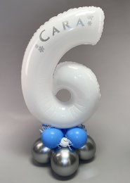 Personalised White Frozen Large Number Balloon Centrepiece