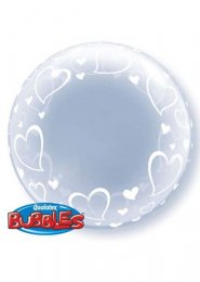 Inflated Stylish Hearts Transparent Deco Bubble Helium Balloon