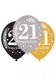 Black and Gold 21st Birthday Party Balloons Pk6