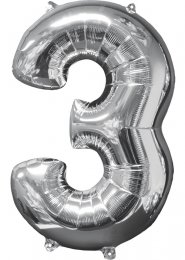Inflated Mid-Size Silver Number 3 Helium Balloon on Weight