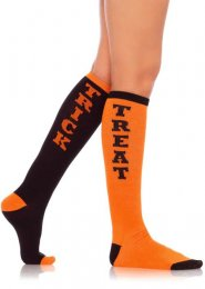 Womens Halloween Orange Trick or Treat Knee Socks
