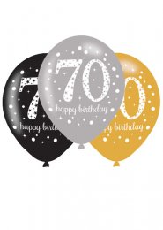 Black and Gold 70th Birthday Party Balloons Pk6