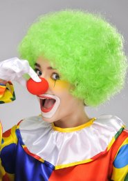 Circus Clown Green Curly Pop Wig