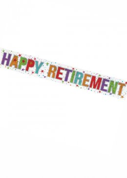 Happy Retirement Holographic Party Banner