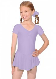 Lilac Short Sleeve Dance Leotard with Skirt